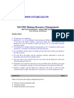 Human Resource Management - MGT501 Spring 2006 Mid Term Paper 2