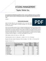 Taylor Shirts Inc. - Operations Management