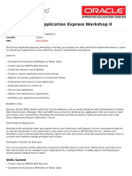 Oracle Application Express Workshop II
