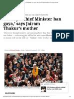 'Mera Jai Chief Minister Ban Gaya,' Says Jairam Thakur's Mother _ the Indian Express