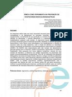 Análise Ergonômica Como Ferramenta Na Prevenção de Doenças Ocupacionais Musculoesqueléticas