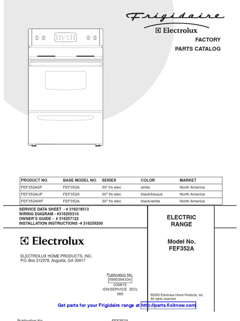 Frigidaire Range Model Fef352a Parts And Wiring Diagrams