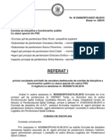 Referatul Comisiei de Disciplina in cazul Valentin Deleanu - propunere către SGG