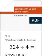 Dividing Decimals With Up to 2 Decimal Places