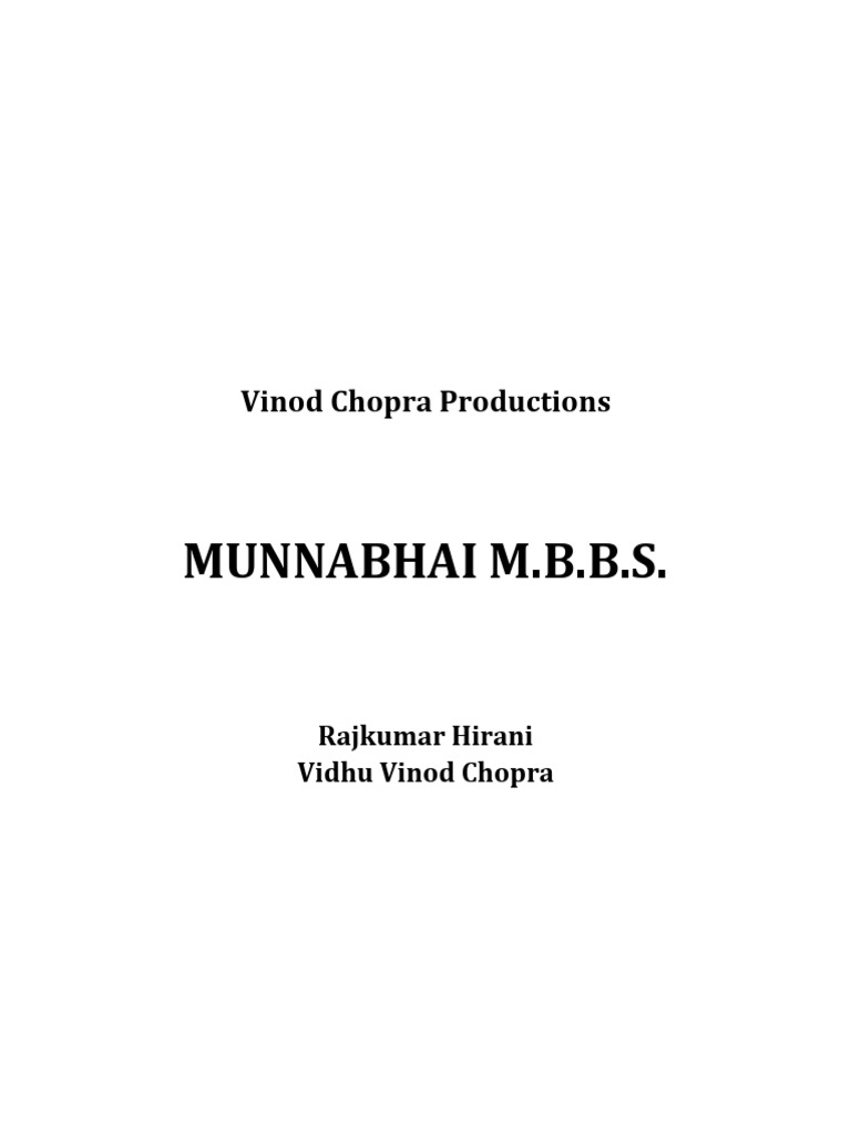 Munnabhai m b b s  Screenplay