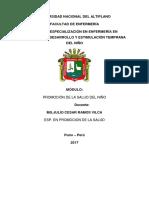 Modulo Promocion de La Salud Del Niño 2017.