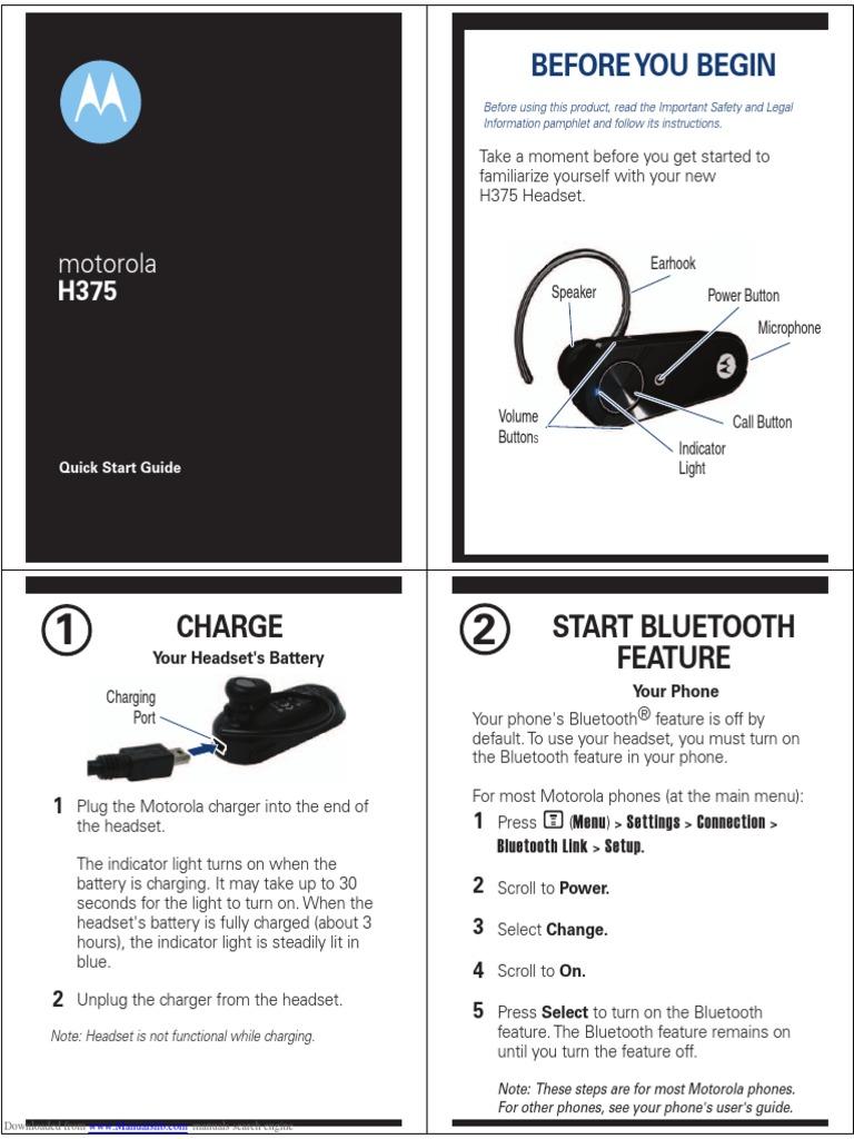 motorola earbug h375 quick start bluetooth telephone rh scribd com Motorola Headset H710 Motorola H710 Manual