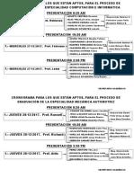 CRONOGRAMA PARA EXAMEN DE GRADUACIÓN