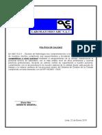 Politica y Objetivos ISO 17025