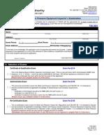 TSK-2001 Application for a Pressure Equipment Inspector s Examination Rev 0