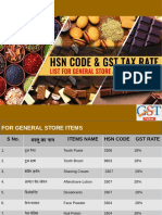 HSN Code & GST Tax Rate List for General Store and Kirana Items