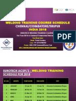 Welding Training Course Calendar for Chennai, Coimbatore, Tirupur India Year 2018