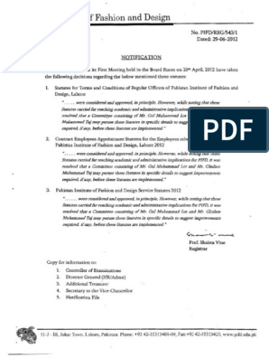 Pakistan Institute Of Fashion And Design Service Statutes Employment Academia