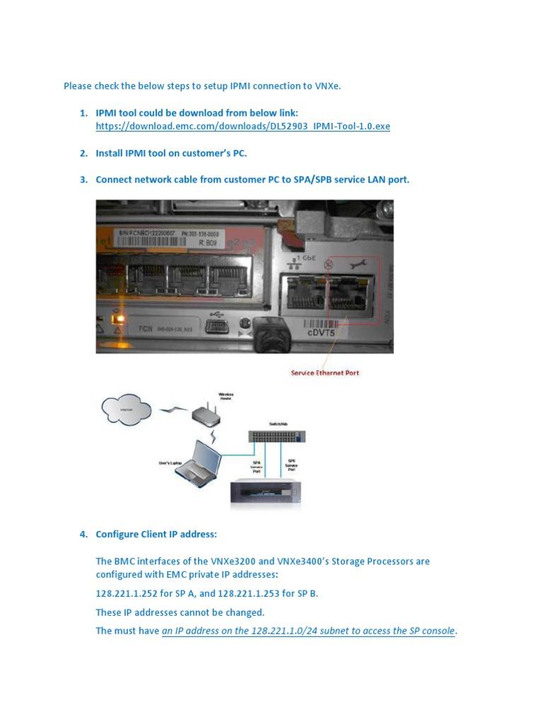 Emc2 VNXe3200 Ipmi link procedure