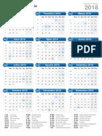 Calendário 2018 Formato de Retrato