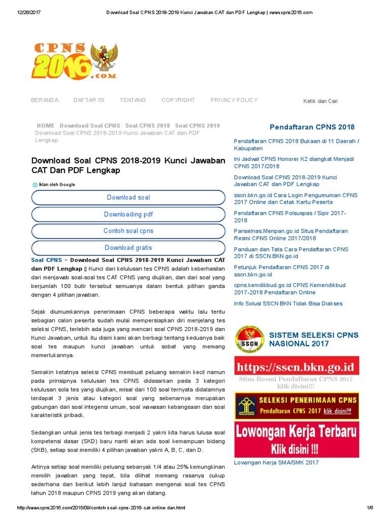 Download Soal Cpns 2018 2019 Kunci Jawaban Cat Dan Pdf