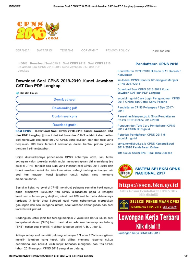 Download Soal Cpns 2018 2019 Kunci Jawaban Cat Dan Pdf Lengkap Www Cpns2016
