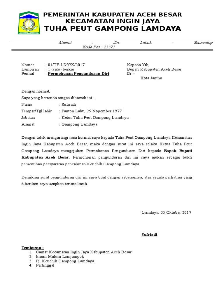 Contoh Surat Pengunduran Diri Sebagai Ketua Bumdes Id Lif Co Id