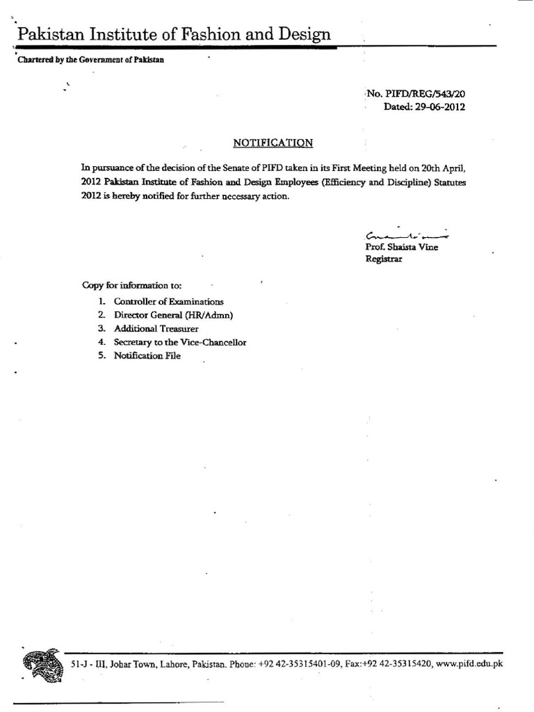 Pakistan Institute Of Fashion And Design Lahore Employees Efficiency And Discipline Statutes 2012 Inquiry Appeal