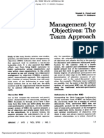 Management by Objectives-The Team Approach