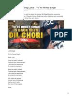 Dil Chori New Hindi Song Lyrics By Yo Yo Honey Singh