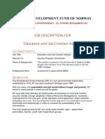 Job Description for Education and job creation advisor Dec 2017