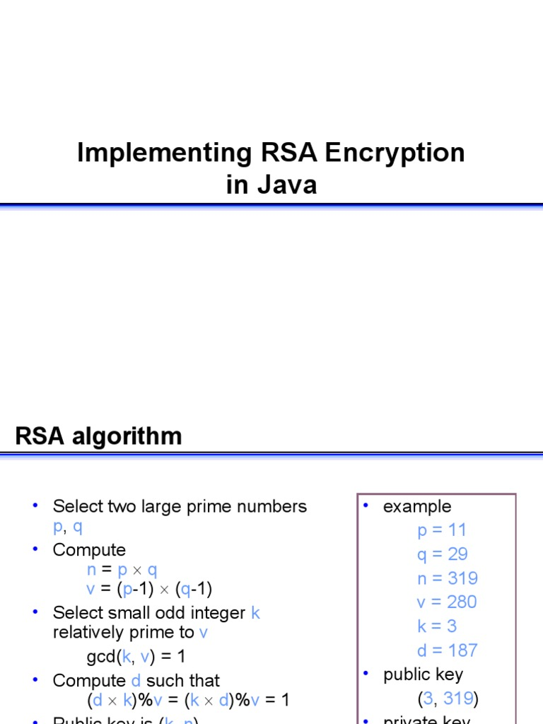 Implementation RSA Java | Public Key Cryptography | Key (Cryptography)