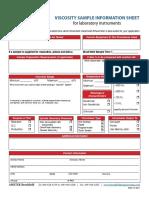 Viscosity Sample Information Sheet