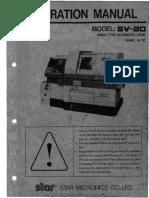 CNC Operation Manual SV20 Swiss Type Automatic Lathe
