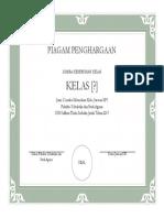Lomba Kebersihan Kelas Certificate