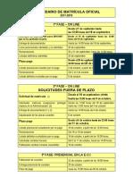 Calendario Matrícula (Amarillo)