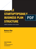 Business Plan Sample by StartupTipsDaily.com