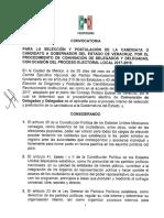 Convocatoria del PRI para elección a gobernador 2018