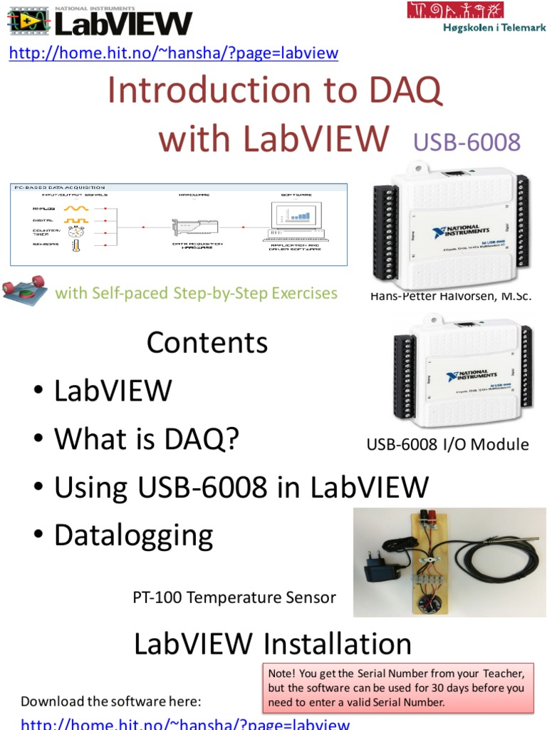 Introduction to DAQ With LabVIEW and USB-6008 - Overview | Input/Output |  Low Pass Filter