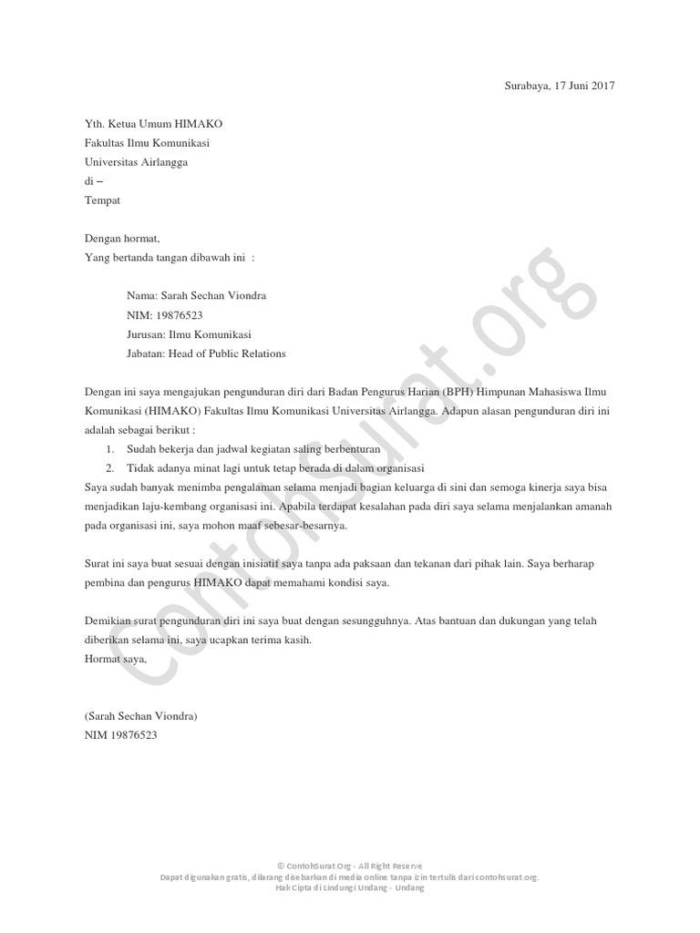 Contohsurat Org Contoh Surat Pengunduran Diri Dari Organisasi 04