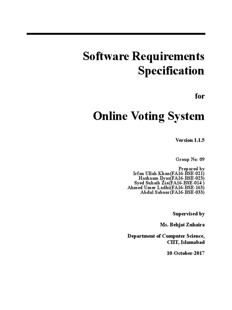 Srs of E-Voting System | Application Software | Use Case