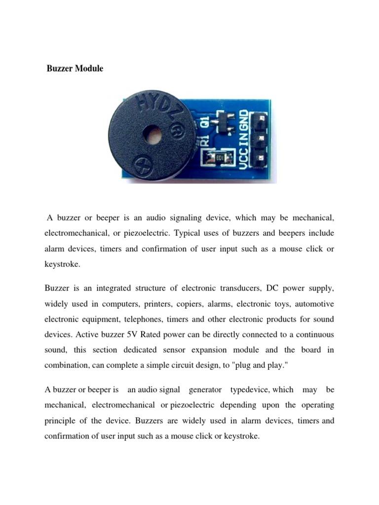 Buzzer Module Simple Electronic Schematic Diagram 1535704041v1