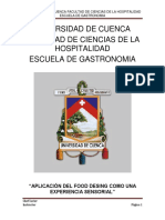 Universidad de Cuenca Facultad de Ciencias de La Hospitalidad Escuela de Gastronomia
