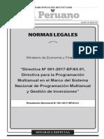 DIRECTIVA N° 01-2017-EF-63.01 - DIRECTIVA PARA LA PROG MUL EN EL MARCO SIS NAC PROG MUL Y GES INV