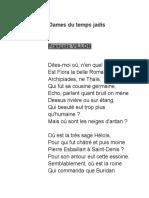Ballade Des Dames Du Temps Jadis
