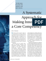 A Systematic Approach for Making Innovation a Core Competency