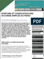 Codification Des Accords Simples Au Piano