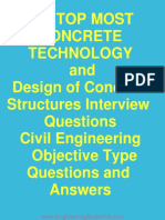 180 Top Most Concrete Technology and Design of Concrete Structures Interview Questions Civil Engineering Objective Type Questions and Answers