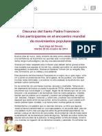 Discurso Papa Francisco Movimientos Populares - 1er. Ncuentro en Roma - Octubre de 2014