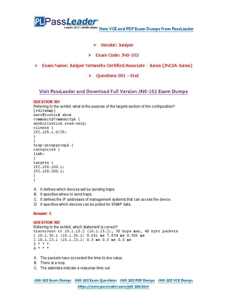 PassLeader JN0-102 Exam Dumps (301-End) | Duplex (Telecommunications