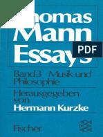 Thomas Mann-Ausgewählte Essays Band III (Musik Und Philosophie)-Fischer (1978)