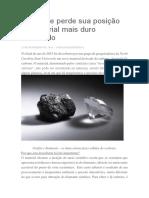 Diamante Perde Sua Posição de Material Mais Duro Do