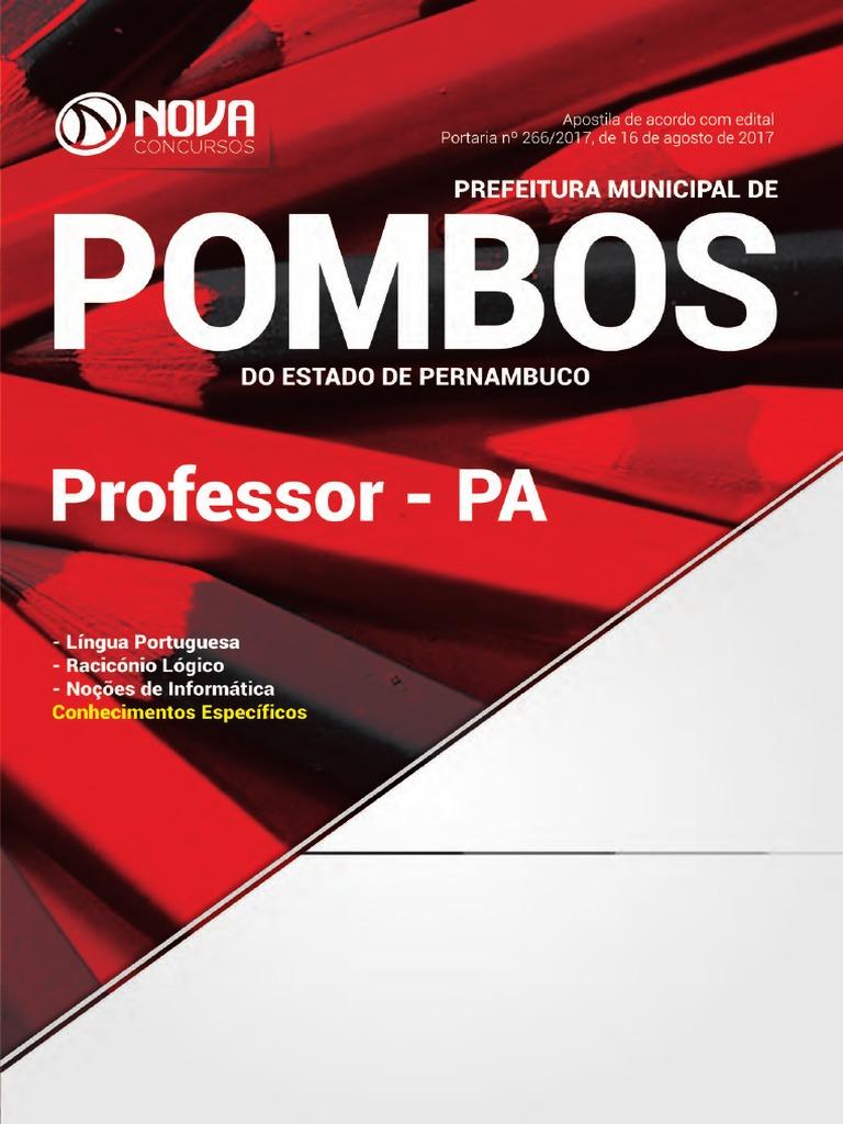 5bef36c200700 Prefeitura de Pombos Pe Professor Pa