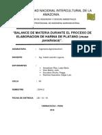 Balance de Materia - Procesamiento de Harina de Platano