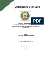 La Auditoria Ambiental y el Sistema de Gestión Ambiental ISO 14001 de la Municipalidad Provincial de Abancay 2017